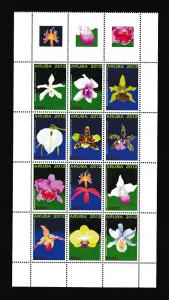 Aruba  #411   MNH  2012  block of 12  orchids with 3 labels