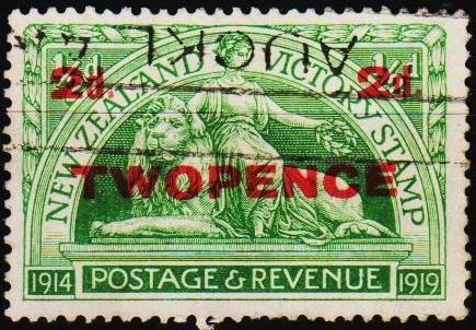 New Zealand. 1922 2d on 1/2d S.G.459 Fine Used