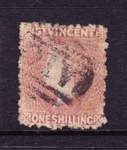 ST VINCENT  1875  1/-  CLARET  QV  FU  SG 21
