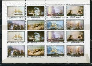 MANAMA 1970 PAINTINGS/SAILING SHIPS 2 SHEETS OF 8 STAMPS PERF. & IMPERF. MNH