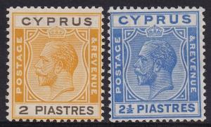 CYPRUS 1925 KGV 2PI AND 21/2PI