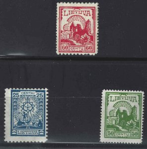 Lithuania 1923-1925 SC 207-209 Mint SCV$ 800.00 Set