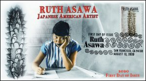 20-176, 2020, Ruth Asawa, First Day Cover, Pictorial Postmark, Japanese American