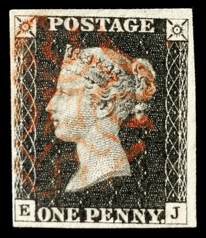 Great Britain Penny Black EJ Four Margins, Red Cancel