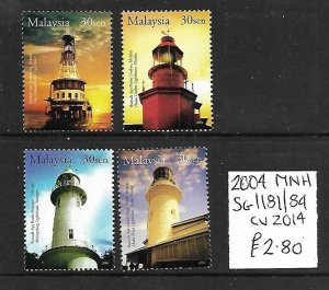 Malaysia MNH 1181-4 Lighthouses 2004