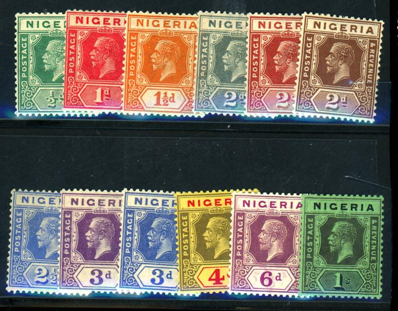 Nigeria #18-29 MINT F-VF OG HR Pencil #'s on gum Cat $65