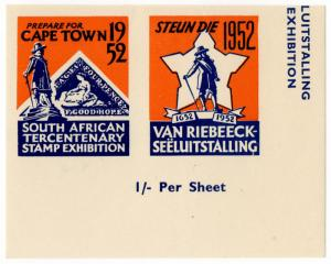 (I.B) South Africa Cinderella : Tercentenary Stamp Exhibition (Cape Town 1952)