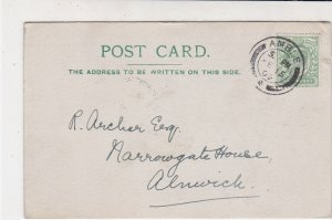 England 1909 Amble Cancel Frm Amble Vicarage Re Infant Sch. Stamp Card Ref 34856