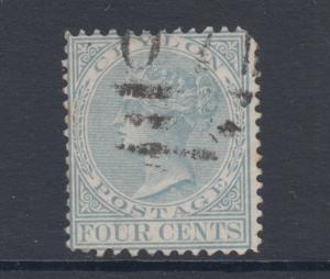 Ceylon SG 134, Sc 78, used. 1872-80 4c gray QV, unlisted Perf 12½x14