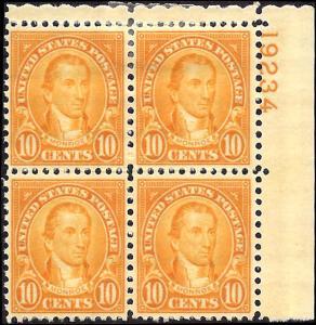 642 Mint,OG,HR... Plate Block of 4... SCV $17.00