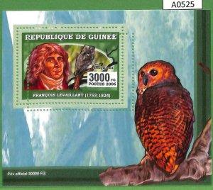 A0525 - GUINEE Guinea - ERROR MISSPERF SHEET - BIRDS Owl  LEVAILLAND  2006
