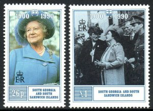 South Georgia 143-144, MNH. Queen Mother's 90th birthday, 1990