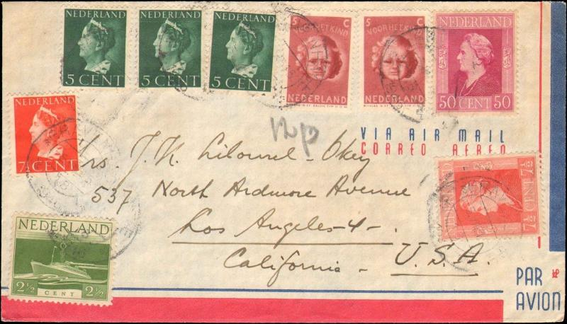 1946 NETHERLANDS MULTI STAMP TO UNITED STATES