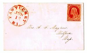 SCOTT# 11 ON COVER TIED BY RED GRID CANCEL, RED PAWTUCKET RI PMK, GEM!!
