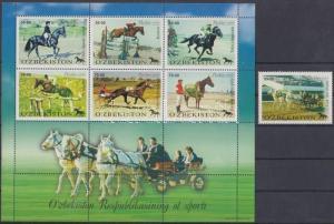 Uzbekistan stamp Equestrian sports stamp + minisheet 2000 MNH WS183790