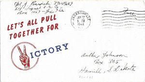 Jan 22 1944 WWII Patriotic Cover, Let's All Pull Together..., Boone #4534