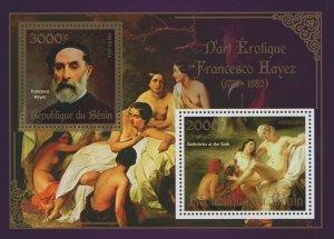 Erotic Art Paintings Francesco Hayez Souvenir Sheet of 2 Stamps Mint NH
