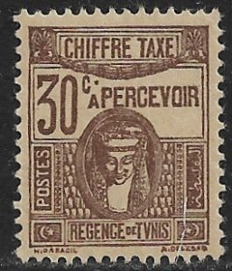 TUNISIA 1922-49 30c Brown POSTAGE DUE Issue Sc J18 MH