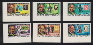 Central African Empire Sir Rowland Hill 6v Imperf Corners 1978 MNH