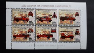 Old firetrucks II - Congo 2006 - sheet + complete set of 6 ss perforated ** MNH