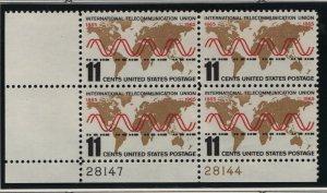 US, 1274, MNH, PLATE BLOCK, 1965, TELECOMMUNICATION UNION