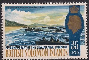 British Solomon Islands 1967 QE2 35ct Pacific War Umm SG 161 ( L1288 )