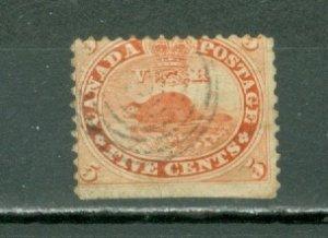 CANADA 1859 BEAVER #15 FINE USED NO THINS