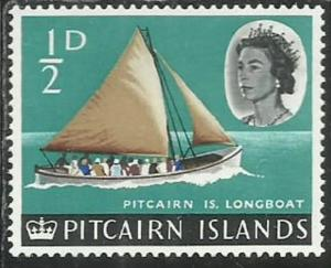 PITCAIRN ISLANDS ISOLE 1964 1965 DEFINITIVES LONGBOAT 1/2p MNH