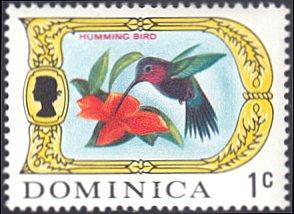 Dominica # 269 mnh ~ 1¢ Hummingbird, Flower