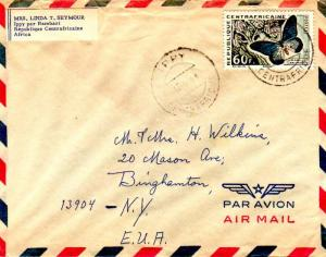 French Equatorial Africa Central African Republic 60F Butterfly 1964 Ippy, Ce...