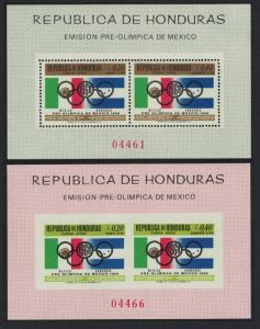 Honduras Summer Olympic Games Mexico 2 MSs Perf and Imperf 1968 MNH SG#MS733