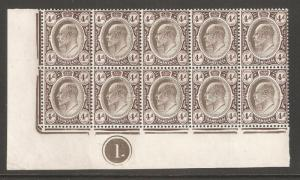 Transvaal 1906,KEVII 4p Plate Block of 10,Scott # 273,XF Superb MNH**OG