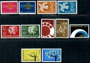 NETHERLANDS Sc#385-395 1960-1962 Five Complete Sets Most OG Mint Hinged