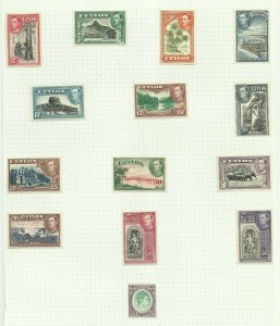 Ceylon 1938/49 Set of 14, Sg 386-397, Hinged to page, M/M {C/P-24}