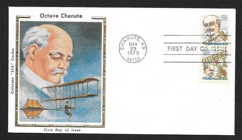 UNITED STATES FDC 21¢ Octave Chanute PAIR 1979 Colorano