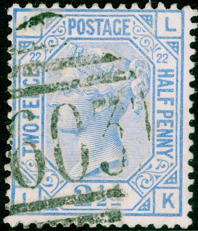 SG157, 2½d blue PLATE 22, USED. Cat £40. LK