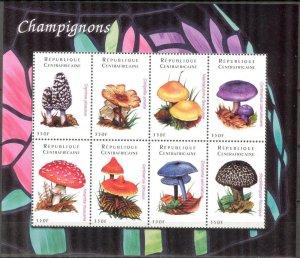 Central African 2001 Mushrooms sheet MNH
