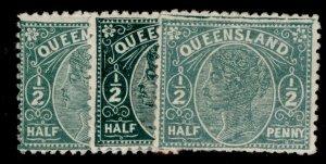 AUSTRALIA - Queensland QV SG185 + 186 + 187, ½d SHADE VARIETIES, M MINT. Cat £42