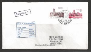 1989 Paquebot Cover, South Africa stamps used in Lisbon, Portugal