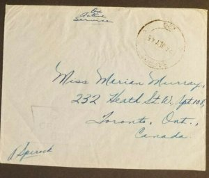 1945 Karachi India to Toronto Royal Canadian Air Force Censorship Air Mail Cover