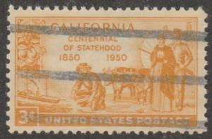 USA stamp, Scott#997, used,suberb centering, California centinal, yellow, #mao50