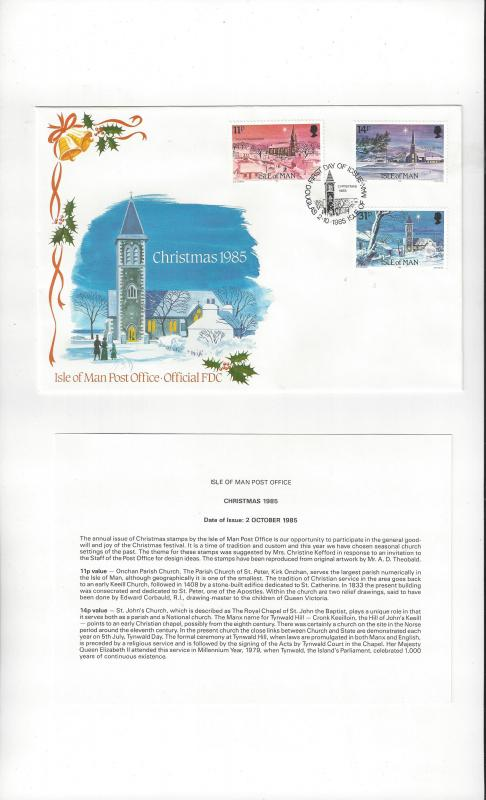 Isle of Man FDC 294-96 Christmas 1985 Official Cachet