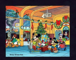 ST VINCENT - 1988 - DISNEY - MICKEY - CHRISTMAS TRAIN - STATION + MINT S/SHEET!