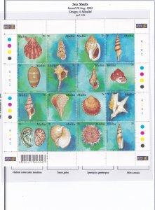 Malta # 1135, Sea Shells, Sheet of 16, Mint NH, 1/2 Cat..