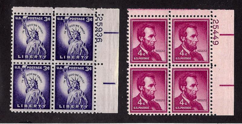 1035-6 Mint,OG,NH... Plate Blocks of 4