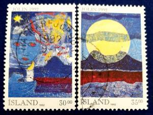 Iceland Christmas 1992 Stamp Set Scott # 760-1 Used (I549)