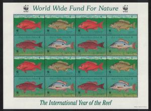 Turks and Caicos WWF Grouper Endangered Species 4v Sheetlet SG#1479-1482