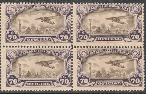 MEXICO CO15, 70¢ OFFICIAL AIR MAIL, BLOCK OF FOUR. MINT, NH. F-VF. (20)
