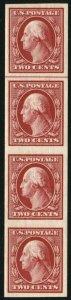 USA #344 Washington Strip of 4 Margin Line Stamp Postage 1908 Mint LH NH VF OG