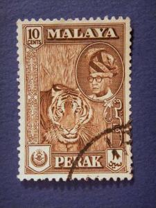 PERAK, 1957, used 10c. sepia, Sultan Yussuf Izzuddin Shah.